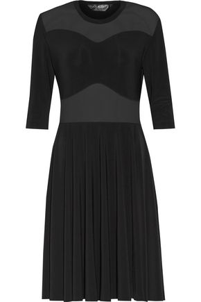 NORMA KAMALI Pleated tulle-trimmed stretch-jersey dress