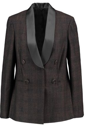 BRUNELLO CUCINELLI Satin-trimmed checked wool-blend blazer