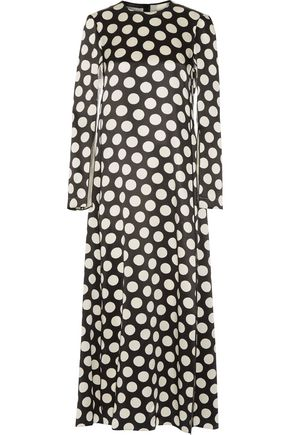 CALVIN KLEIN COLLECTION Polka-dot silk-satin maxi dress