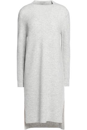 DUFFY Asymmetric marled wool and cashmere-blend dress