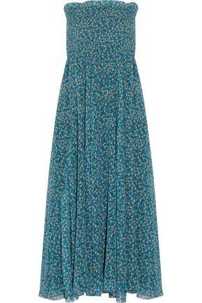 PHILOSOPHY di LORENZO SERAFINI Smocked printed silk-chiffon maxi dress