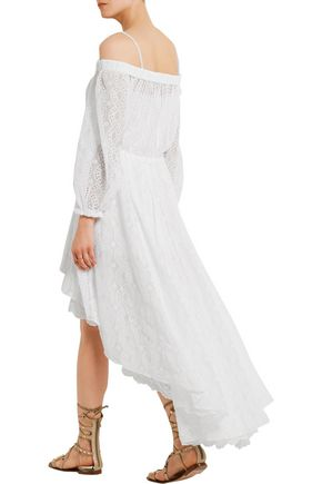 PHILOSOPHY di LORENZO SERAFINI Off-the-shoulder broderie anglaise cotton-blend dress