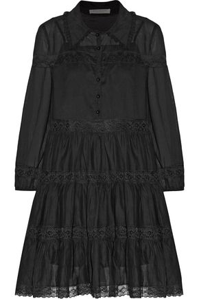 PHILOSOPHY di LORENZO SERAFINI Lace-trimmed gathered cotton-gauze mini dress