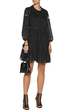 PHILOSOPHY di LORENZO SERAFINI Lace-trimmed gathered cotton-gauze mini dress