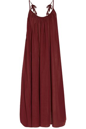 ZIMMERMANN Harlequin gathered cotton and linen-blend gauze midi dress