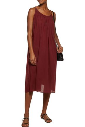 ZIMMERMANN Harlequin gathered cotton and linen-blend gauze midi dress