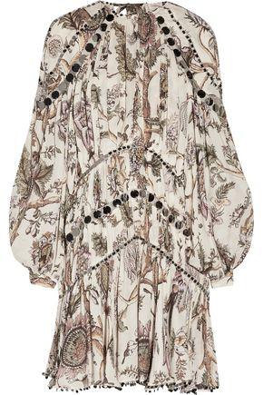 ZIMMERMANN Karmic Aura Mirror sequin-embellished gathered floral-print  silk crepe de chine mini dress