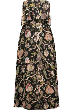 ZIMMERMANN Strapless printed satin midi dress