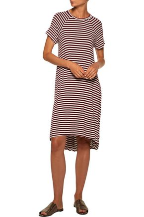 ZIMMERMANN Swing asymmetric striped stretch-jersey dress
