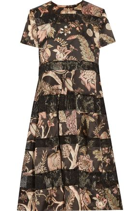 ZIMMERMANN Lavish corded lace-paneled printed crepe midi dress