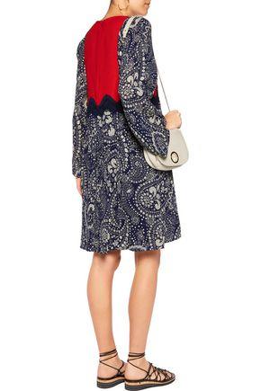 CHLOÉ Lace-trimmed paneled floral-print gauze mini dress