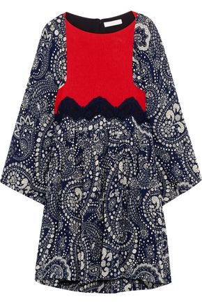 CHLOÉ Lace-trimmed paneled floral-print gauze mini dress