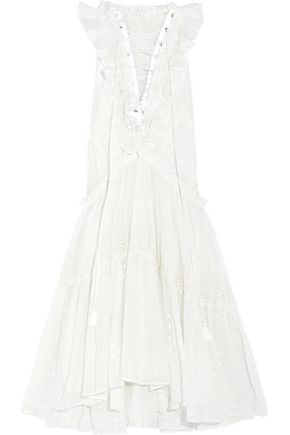 CHLOÉ Lace-up ruffled cotton-voile and broderie anglaise dress