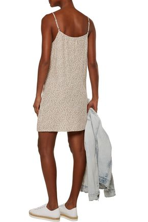 CURRENT/ELLIOTT The Slim ruffled printed crepe mini slip dress