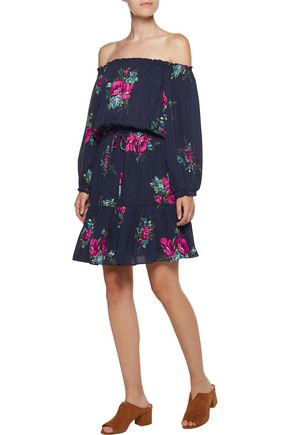 JOIE Marx off-the-shoulder gathered floral-print silk crepe de chine mini dress