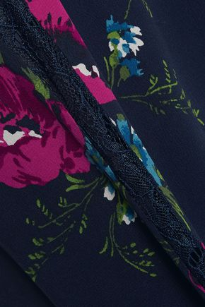 JOIE Magie lace-trimmed floral-print silk mini dress