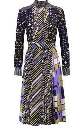 BOTTEGA VENETA Belted pleated printed silk dress