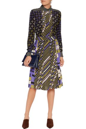 BOTTEGA VENETA Belted pleated printed silk dress