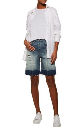 CURRENT/ELLIOTT The Seamed  dégradé distressed denim shorts