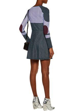 CARVEN Color-block metallic crepe mini dress