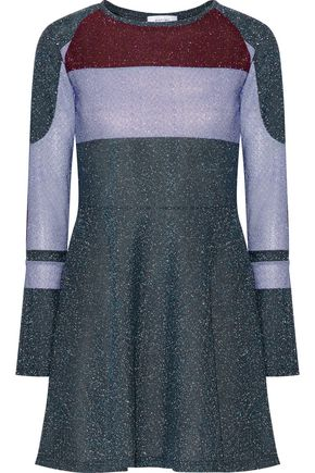 CARVEN Color-block metallic crepe mini dress
