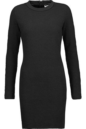 CARVEN Open knit-trimmed cotton-blend cloqué mini dress