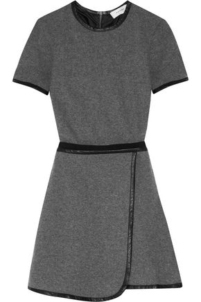 CARVEN Faux leather-trimmed wool-blend mini dress