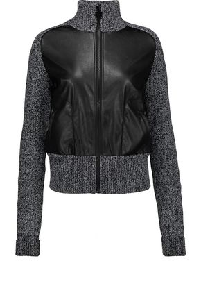 CARVEN Faux leather-paneled marled ribbed wool jacket