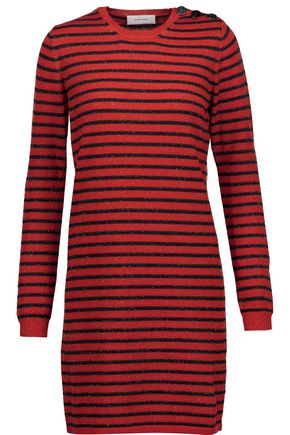 CARVEN Glittered striped wool-blend mini dress