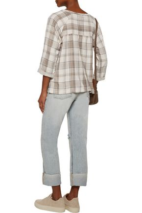 CURRENT/ELLIOTT The Shirred gathered checked cotton top