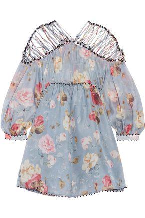 ZIMMERMANN Havoc Lattice Billow cutout floral-print silk-tulle mini dress