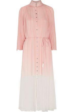 ZIMMERMANN Chroma belted dégradé crinkled silk-georgette midi dress