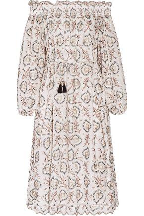 ZIMMERMANN Off-the-shoulder printed cotton-voile midi dress