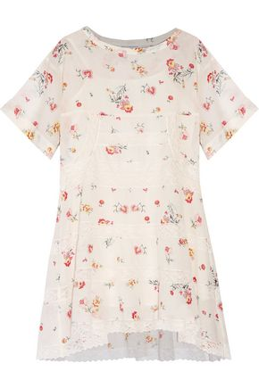 PHILOSOPHY di LORENZO SERAFINI Flared lace-trimmed floral-print cotton-gauze mini dress