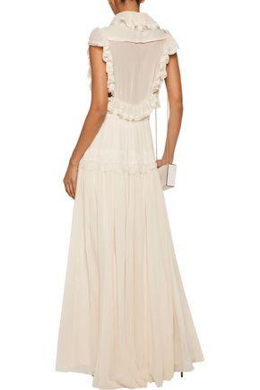 PHILOSOPHY di LORENZO SERAFINI Lace-trimmed silk-gauze maxi dress
