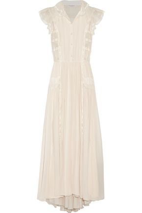 PHILOSOPHY di LORENZO SERAFINI Lace-trimmed silk-gauze maxi dress