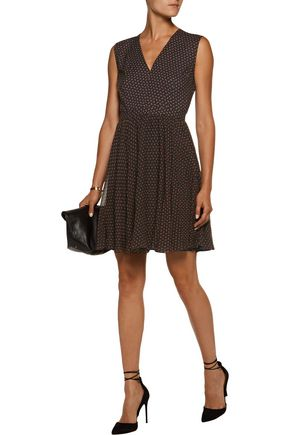PHILOSOPHY di LORENZO SERAFINI Pleated printed silk mini dress