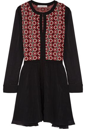 PHILOSOPHY di LORENZO SERAFINI Pleated intarsia wool and silk mini dress