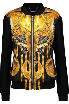 VERSACE JEANS Faux-leather trimmed printed satin and wool-blend jacket