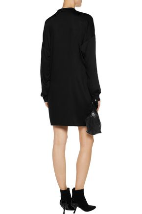 VERSACE JEANS Wrap-effect embellished stretch-satin mini dress