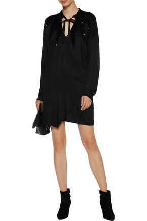 VERSACE JEANS Wrap-effect embellished stretch-satin mini dress