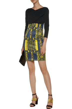 VERSACE JEANS Wrap-effect paneled stretch-knit and printed satin dress