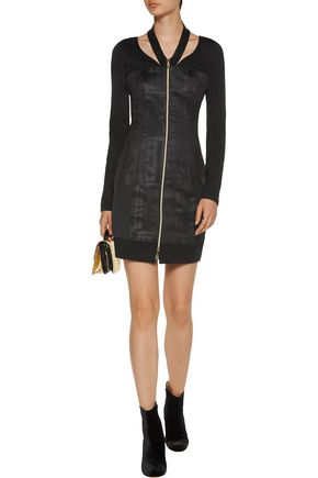 VERSACE JEANS Cutout printed stretch-jersey mini dress