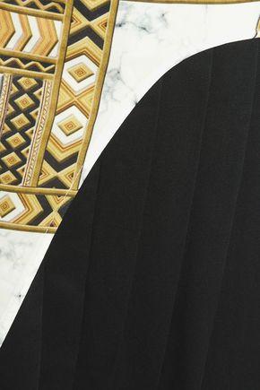 VERSACE JEANS Pleated printed twill mini dress