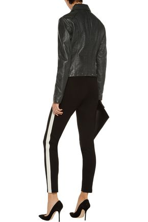 VERSACE JEANS Studded croc-effect leather biker jacket