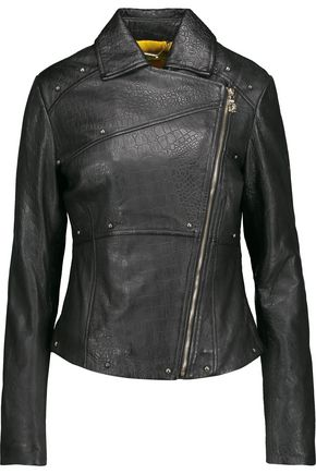 VERSACE JEANS Studded croc-effect leather biker jacket