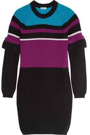 KENZO Color-block ribbed wool mini dress