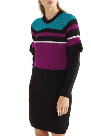 KENZO Color-block ribbed wool mini dress