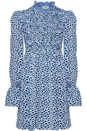 KENZO Smocked-paneled printed ponte mini dress