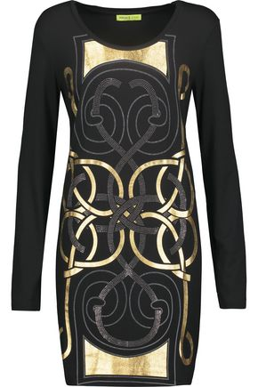 VERSACE JEANS Embellished printed stretch-jersey mini dress